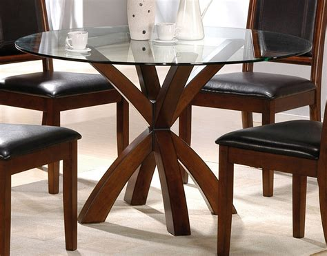 simple glass top dining tables with wood base and