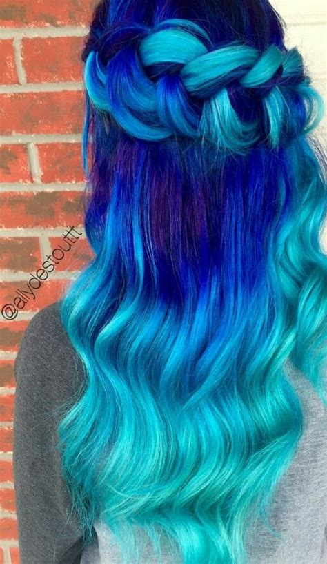 Turquoise Blue Royal Ombre Dyed Hair Color Dyed Hair