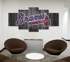 Braves fans deserve something bigger and better than traditional posters, wall stickers or cheap decor. Large Five Piece Atlanta Braves Baseball Barnwood Style Canvas Print Wall Art   eBay