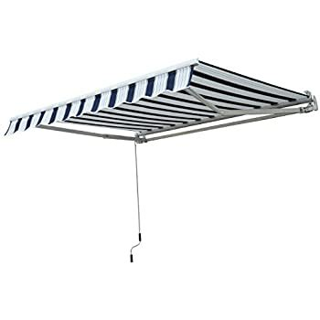outsunny    garden patio manual awning canopy sun shade shelter  winding handle blue