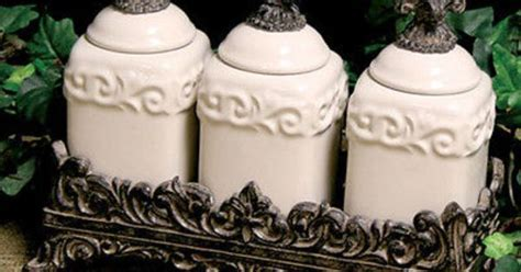 Set of 3 Drake Design Fleur De Lis Cream Spice Jars