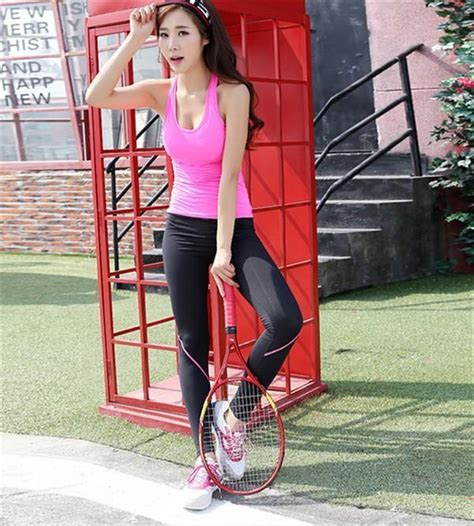 Korea 2-Piece Fitness Set Yoga Suit Running Gym Volleyball Badminton Exercise Clothes Blue Pink ...