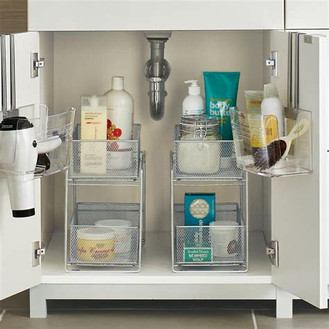 bathroom cabinet storage ideas silver 2 drawer mesh organizer the container store