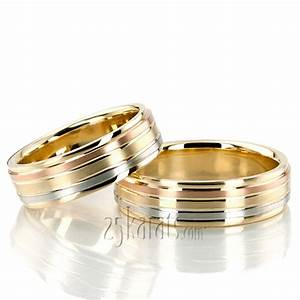 hh tt232 18k gold grooved tri color fancy designer wedding With tri color wedding ring