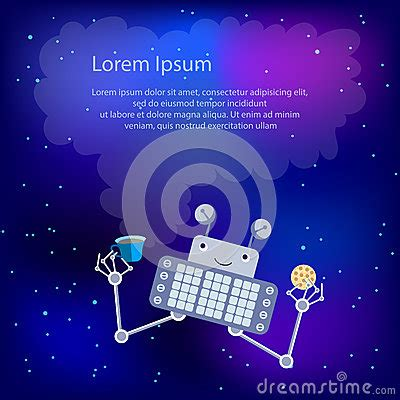 robot in space template for greeting card or flyer stock