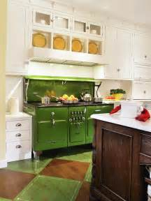 Green Kitchen with Stove