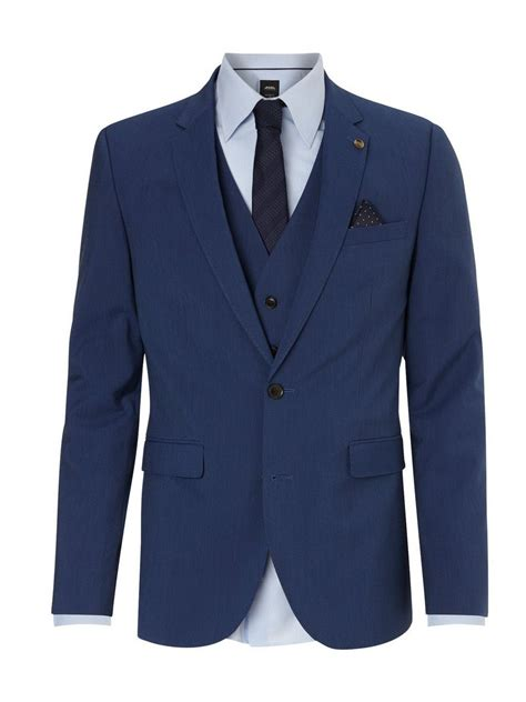 Slim Fit Blue Textured Suit Jacket Burton
