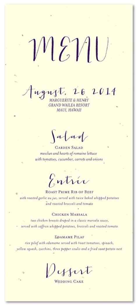 unique wedding menus  seeded paper organic