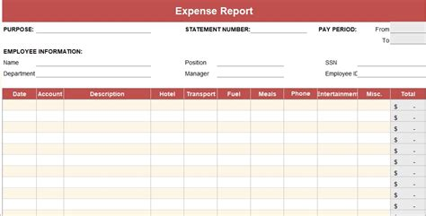 expense report template daily weekly monthly annual
