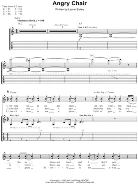 in chains angry chair chords in chains quot angry chair quot guitar tab print