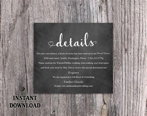 diy wedding details card template  printable
