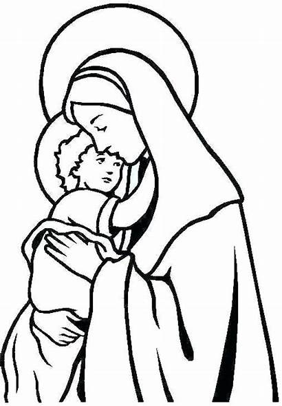 Mary Jesus Mother Drawing Coloring Martha Virgin