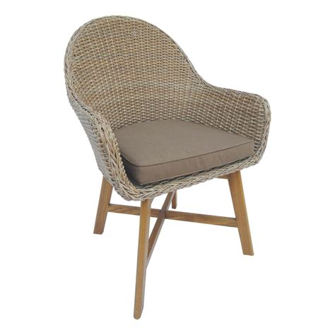 mimosa timber and resin wicker corsica arm chair