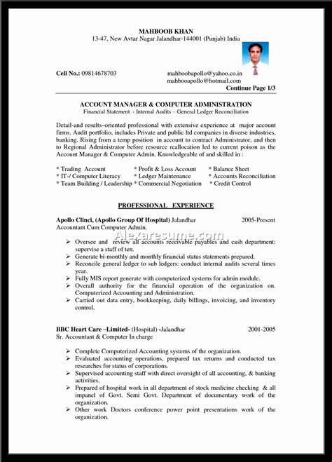 entry level accounting resume profile exles