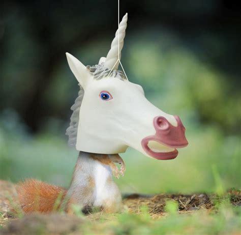 unicorn head hanging squirrel feeder