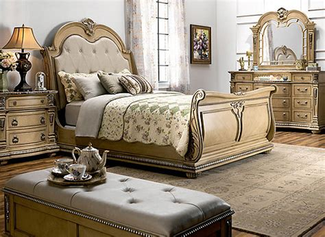 wilshire  pc king bedroom set bisque raymour flanigan