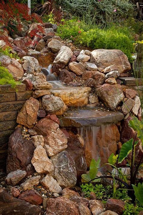 waterfall feature designs pondless waterfall design ideas unique garden water features