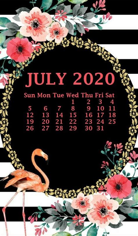 iphone july  calendar wallpaper  printable