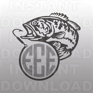 Fishing SVG File,Fish Hook Monogram SVG File,Bass SVG,Cutting Template Vector Clip Art for Commercial & Personal Use-Cricut,Cameo,Silhouette