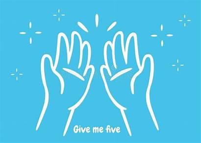 Cartoon Hands Clap Give Five Opposite Symbol