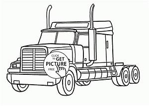 Realistic Semi Truck Coloring Page For Kids