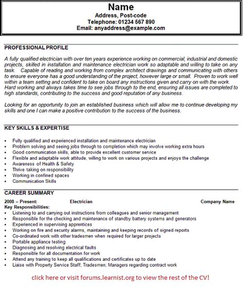 Information For Resume Profile by Electrician Cv Exles Electrician Cv Exle Professional Profile