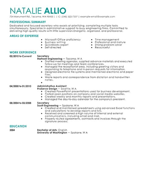 resume secretary  excel templates