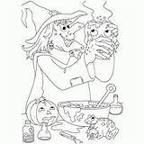Coloring Halloween Pages Potion Deadly Witch Making Check Creepy Hag sketch template