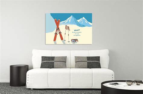 chambre vintage ski tableau haute montagne en toile par scenolia