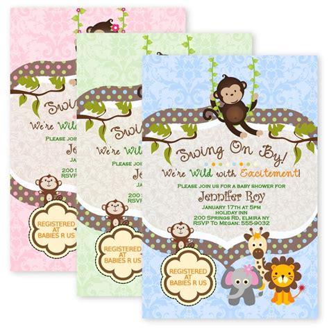 jungle baby shower invitations swinging monkey giraffe