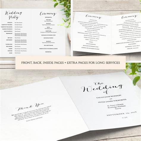 booklet wedding program template church order  service