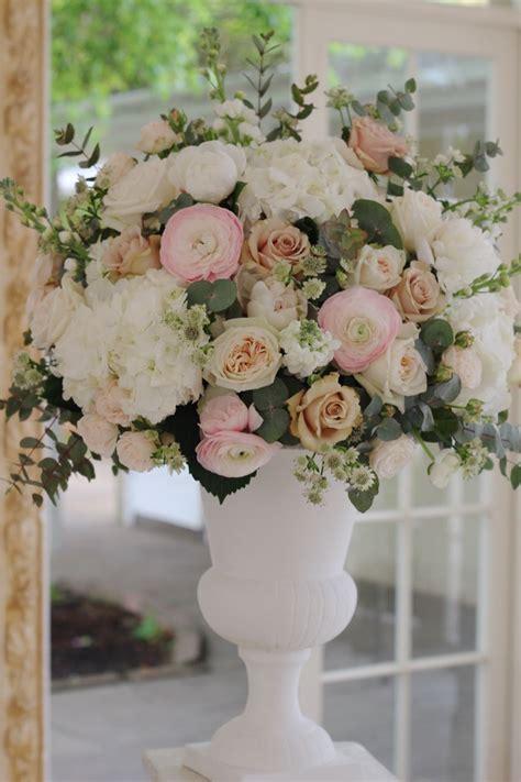 floral urn arrangement created  white hydrangea blush