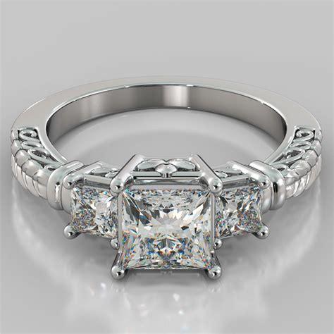 1 75ct princess cut 3 stone designer engagement ring in 14k white gold ebay