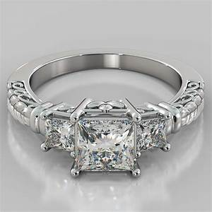 1.75Ct Princess Cut 3-Stone Designer Engagement Ring in ...