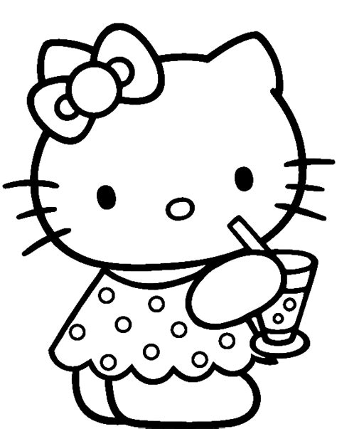 Hello Kitty Was Drinking Delicious Coloring Page hello