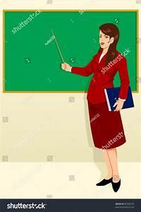 Vector Illustration Teacher Front Classroom Stock Vector