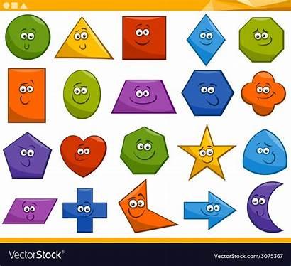 Shapes Cartoon Geometric Basic Vector Vectorstock Fun
