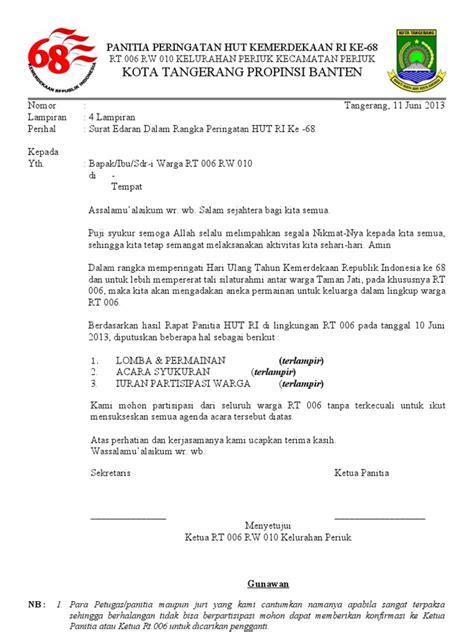 contoh surat edaran kegiatan hut ri contoh surat edaran hut ri 2018 kumpulan contoh surat