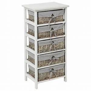 Meuble Rangement Gris : meuble de rangement 5 paniers 86cm aby gris ~ Teatrodelosmanantiales.com Idées de Décoration