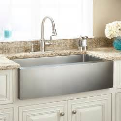 36 quot optimum stainless steel farmhouse sink curved apron