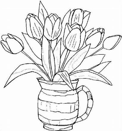 Coloring Spring Flower Pages Template Templates Colouring