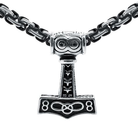 thor 39 s hammer pendant king 39 s chain thor stainless steel