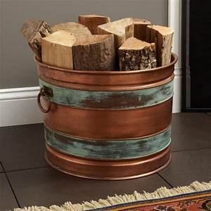 Hampshire, Copper, Firewood, Holder, -, Antique, Copper, Patina, -, Fireplace, And, Hearth