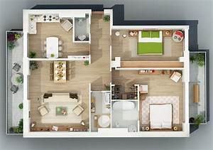 Apartment designs shown with rendered 3d floor plans for 3d floor plans for apartments