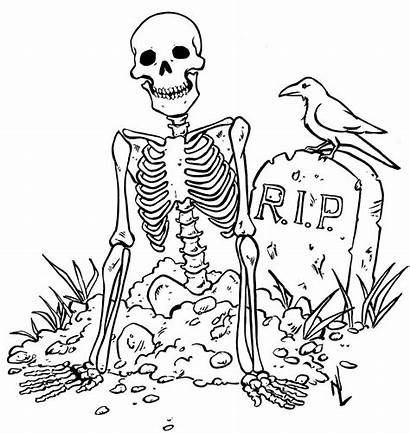 Coloring Pages Halloween Printable Skeleton Scary Colouring