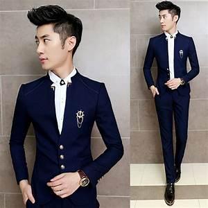 Costume Homme 2017 : 2017 new 2pcs set slim fit prom homme men costume wedding suits classic chinese collar ~ Preciouscoupons.com Idées de Décoration