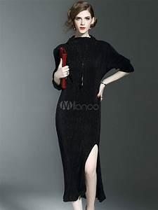 long sweater dress women39s pleated side split dress with With robe noire fendue