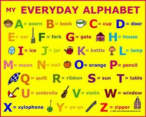 Alphabet of everyday objects is on children's clothing