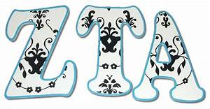black and white damask custom letters With zta letters