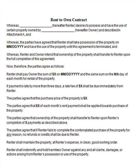 rent   contract samples   ms word